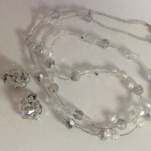 Aurora borealis crystals necklace earrings set